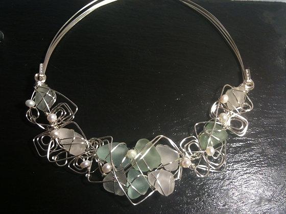 Aqua, white seaglass & pearl - LRSGJ570