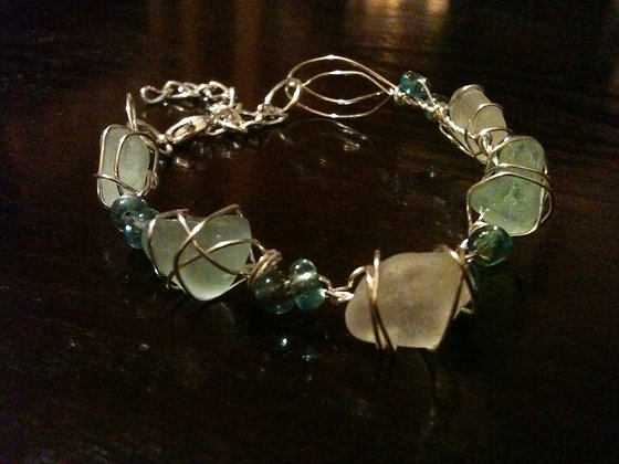 Aqua, White Sea Glass - LRSGJ173