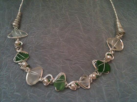 Green, white Sea Glass & pearl - LRSGJ537