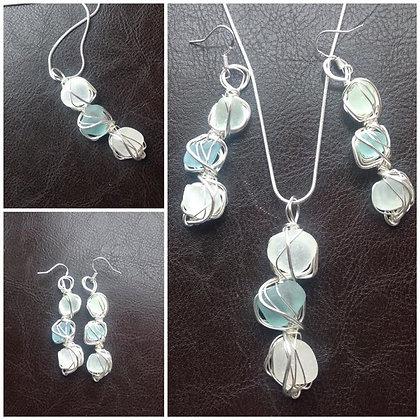 Pale Blue & White Sea Glass LRSGJ606