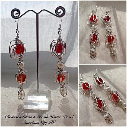 Red Sea Glass & Pearl By KG - LRSGJ1/16