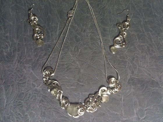 White Sea Glass necklace set - LRSGJ588