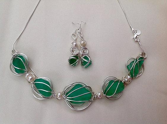 Teal Sea Glass & Pearl By KG - LRSGJ2/16