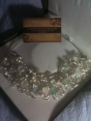 White, Aqua Sea glass & pearl - LRSGJ561