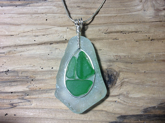 White Green Sea Glass Boat - LRSGJ415