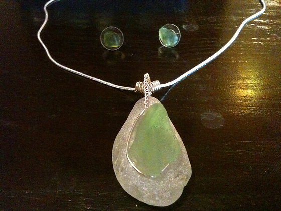 White and Lime Sea Glass - LRSGJ365