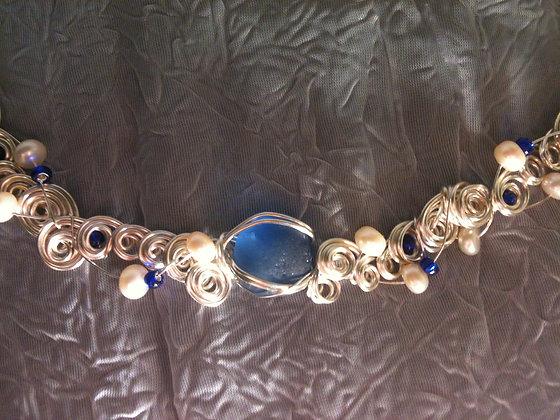 Cobalt ( mermaid pearl) Sea Glass & pearl LRSGJ546