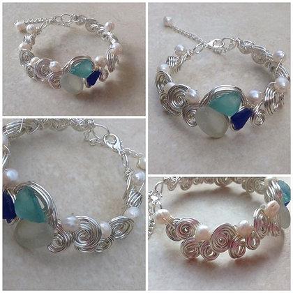 PaleBlue, White & Cobalt Sea Glass & Fresh Water Pearl - LRSGJ614