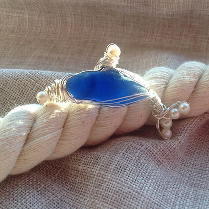 Cobalt sea Glass & Fresh Water Pearl Dolphin - LRSGJ600