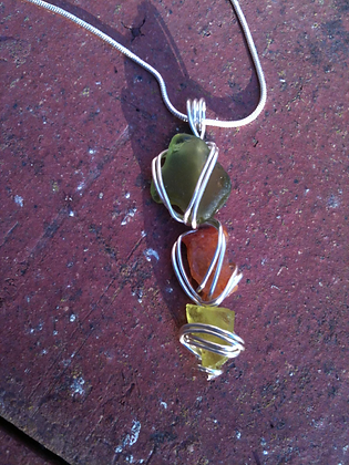 Green, Orange and Yellow Sea Glass - LRSGJ10
