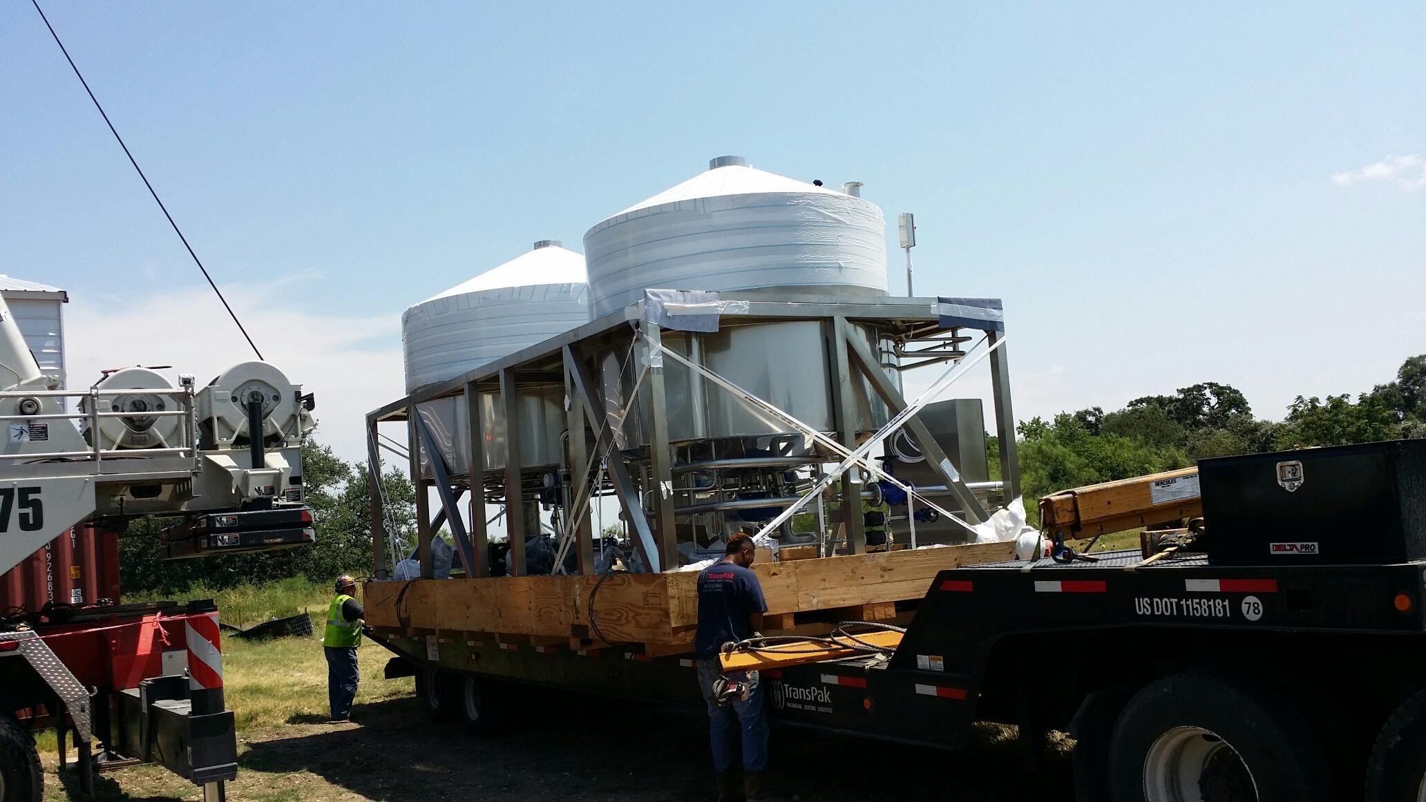 Live Oak Brewery tank installation