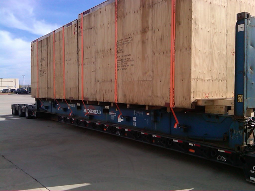Semi-truck transport of crate