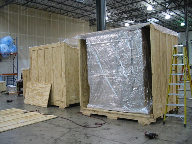Crates with moisture barrier
