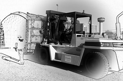 Transpak riggers driving forklift