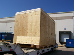 Crate loaded onto trailer