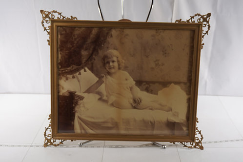 Early 1900s Picture Frame With B/ W Photograph