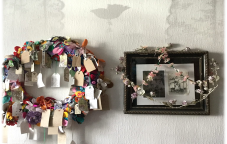 wreath- fabric and mixed media