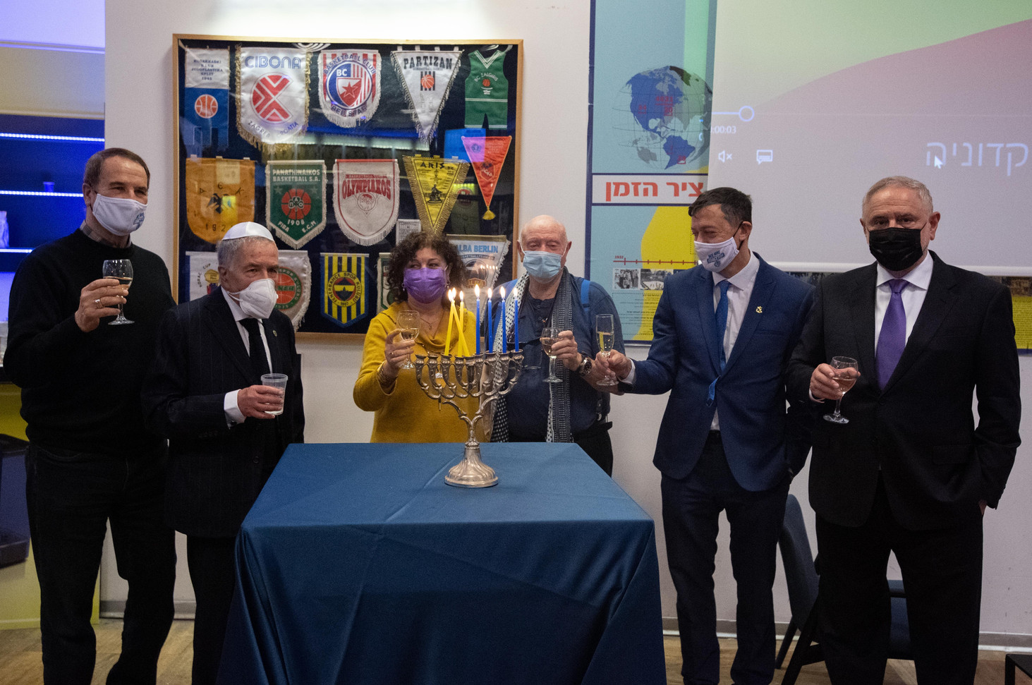 Maccabi TA lights Hanukkah candles in memory of North Macedonia's Jews