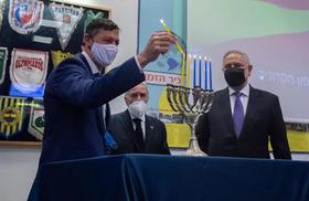 Maccabi TA lights Hanukkah candles in memory of North Macedonia's Jews