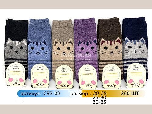 Детские носочки с кошечками разных цветов АНГОРА  с пяткой арт.: C32-02