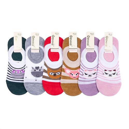 Женские носки, короткие, нескользящие Зверюшки. Артикул 1132