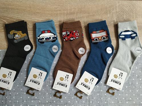 Детские носки Цветные машинки KOMAX. Качественные, плотные.