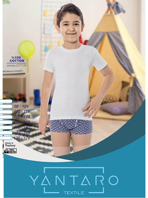Белая футболка мальчикам Yantaro из мягкого турецкого хлопка. Артикул 3434
