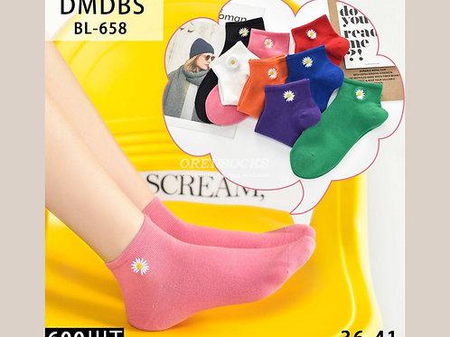DMDBS Молодежные хлопковые короткие носочки с ромашкой, АРТ. BL-658
