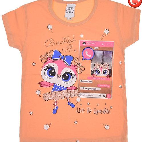 Детская футболка Совушка из турецкого хлопка. Артикул 12846