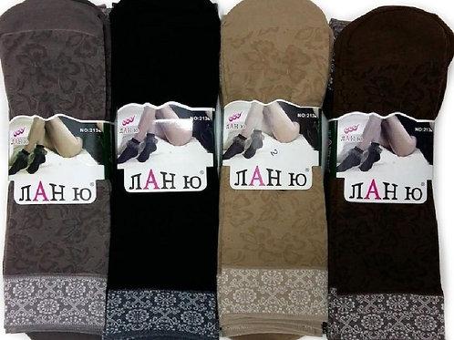 Женские носки Лан ю из плотного капрона с рисунком.