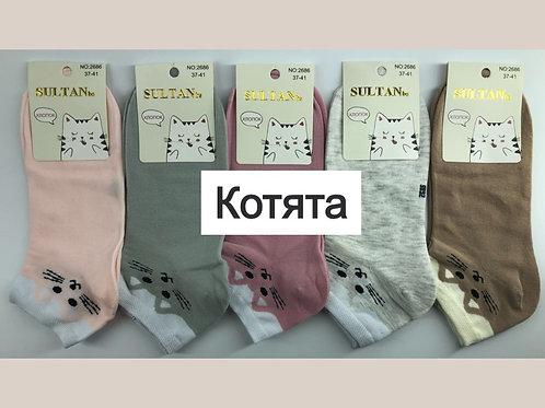 Женские носки Котята 80% хлопка отличного качества. Артикул 2686