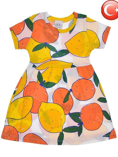 Классное платьице для девочки из фактурного хлопка Апельсины. Артикул 14259