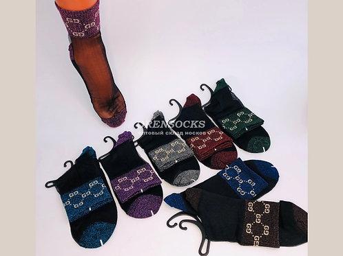 Женские носки с люрексом, вверх-капрон ,низ-хб DMDBS. Арт.BL-203