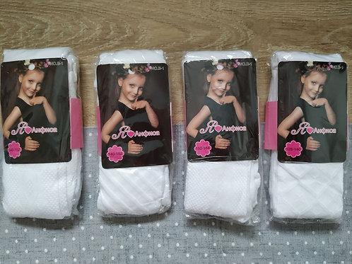 Колготки белые для девочек Анфиса с нежным ажурным рисунком. Артикул kd-b-1