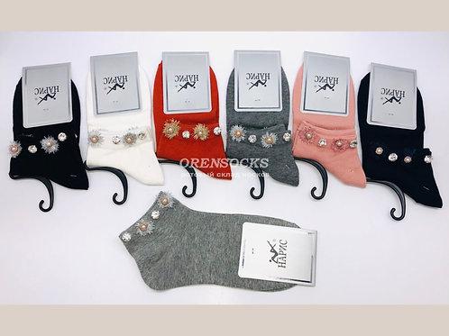 """Женские носки со стразами """"Нарис"""", хлопок K241"""