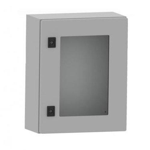 Elosztószekrény fém 800x600x250 szerelőlappal üveges ajtóval RAL7035