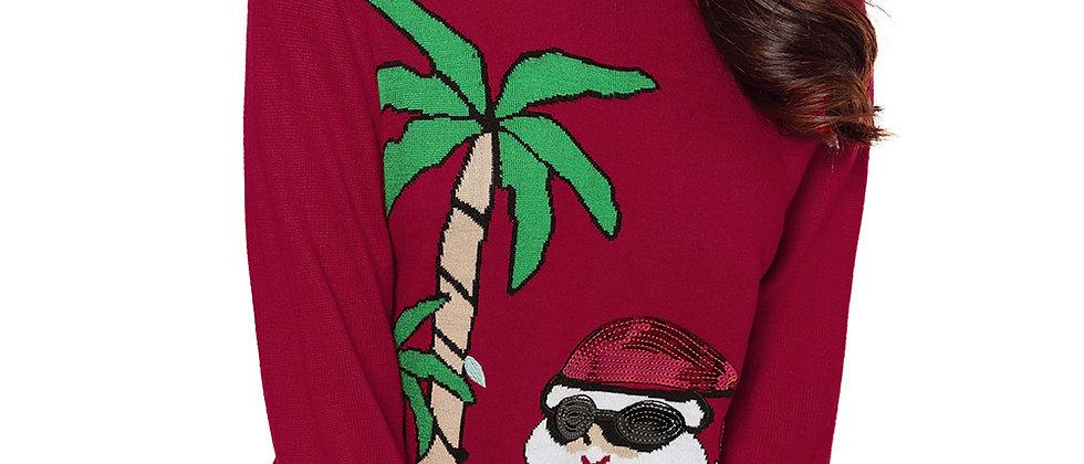 Beach Coconut Tree Santa Sweater