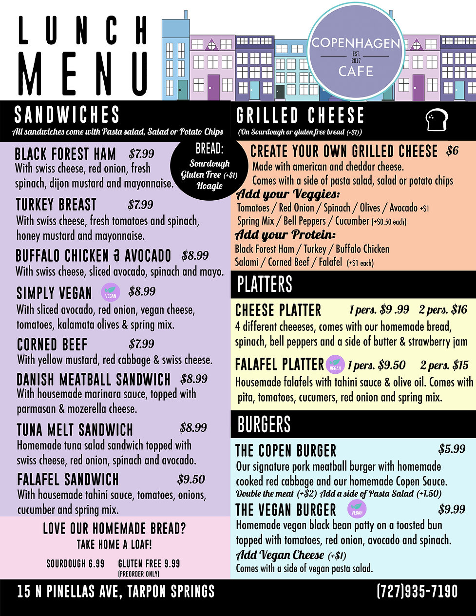 New Lunch menu front side november 2020