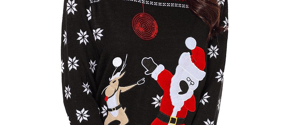 Reindeer Snowflakes Santa Sweater