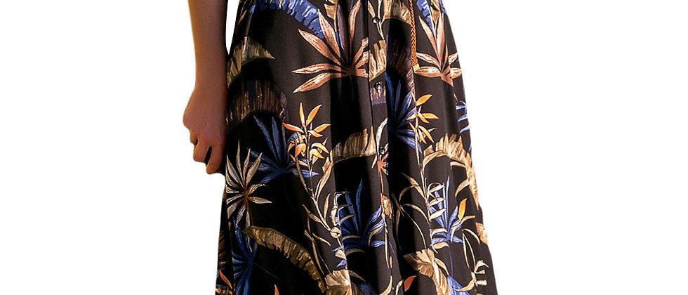 Bohemian Floral Print Belted Shirt Dress