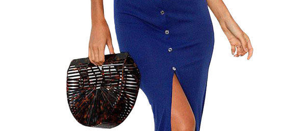 Blue Sexy Front Split Bodycon Maxi Dress