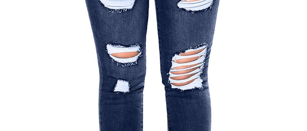 Blue Distressed Raw Hem Denim Pants