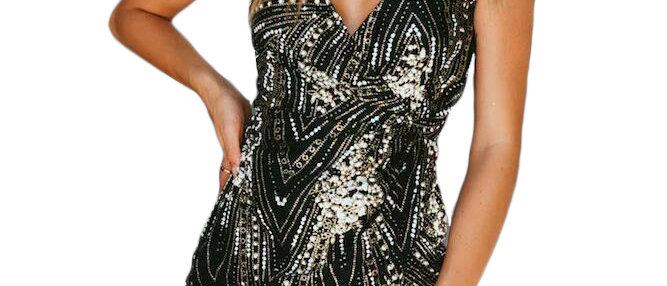 Black Glitter Wrap Mini Dress