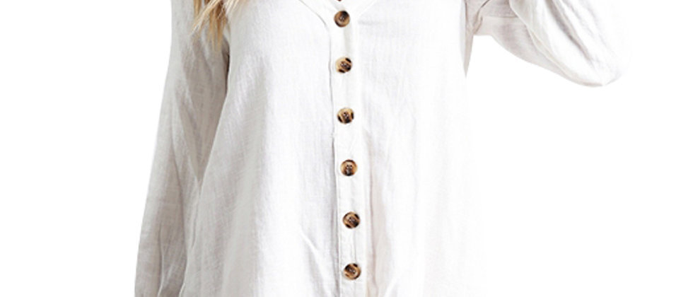 Sleeved Button Down White Casual Short Dress