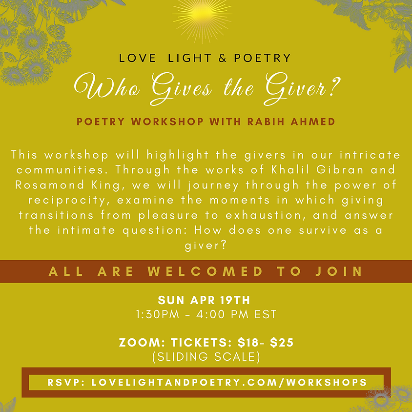 Who Gives the Giver Online Poetry Workshop