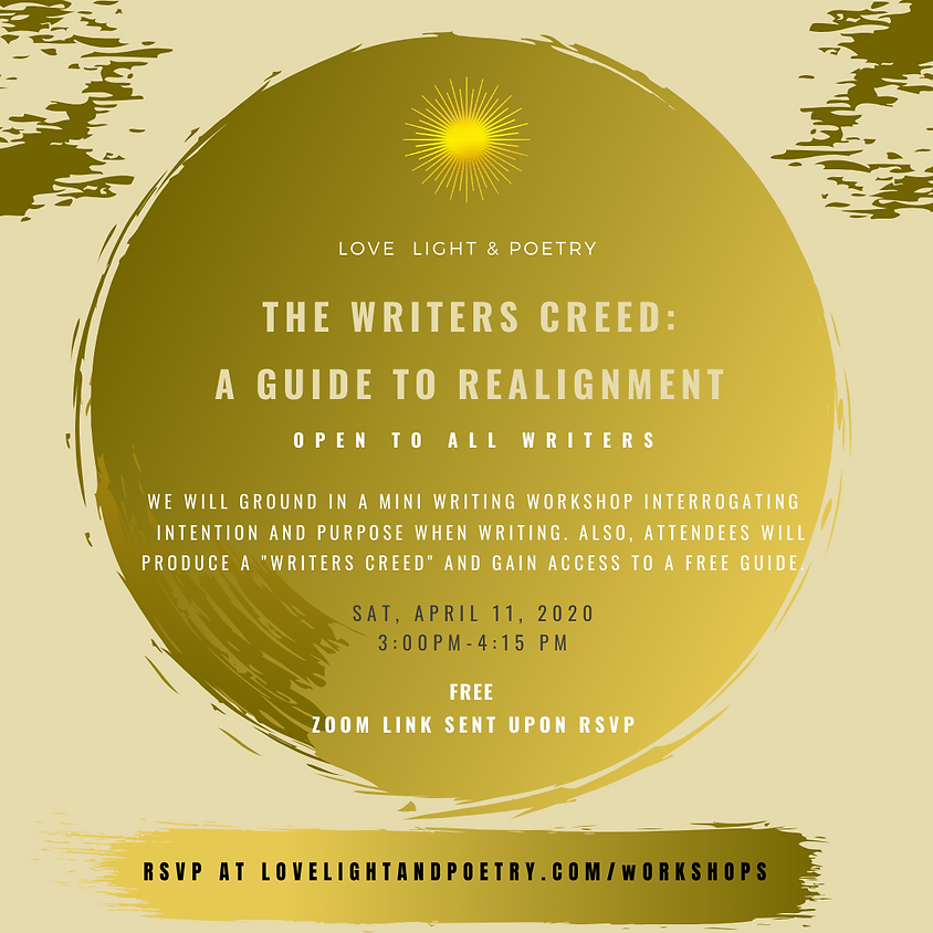 The Writers Creed: A Guide to Realignment (RSVP ends at 12 AM 4/11)