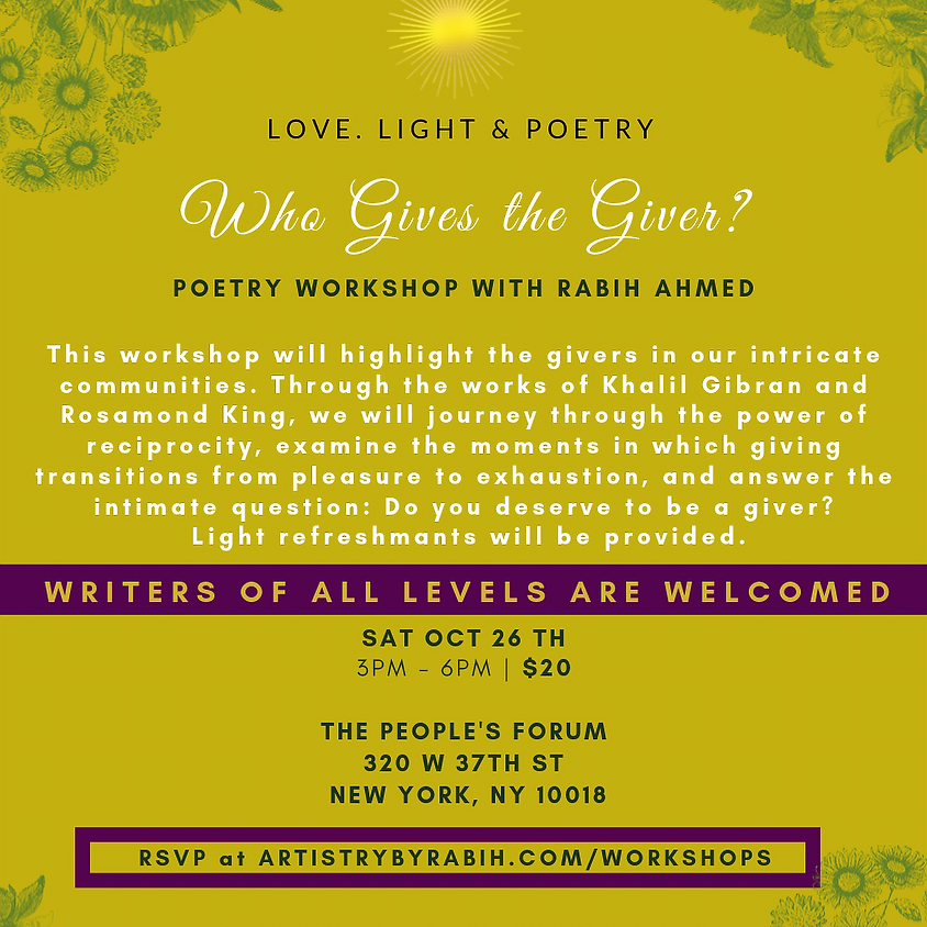 Who Gives the Giver Poetry Workshop