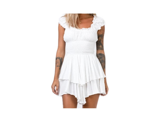 Short-sleeve Chiffon Smock Dress