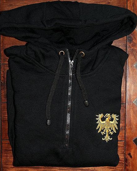 """Bluza """"kangur"""", zamek 1/3, orzełek ślaski, czarna"""