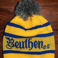 czapka z pomponem Bethen O.S. żółto-niebieska